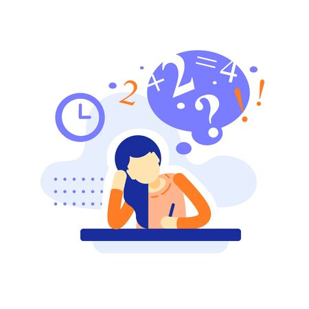 Bored female student at the desk doing homework, difficult  assignment, writing or thinking on task, education concept, bored teenage learner, tired learning, too much burden, vector flat illustration 向量圖像
