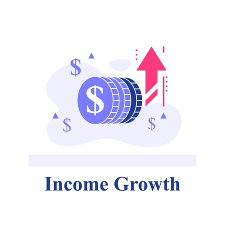 Blue chip company concept, fast financial growth, quick business revenue increase, successful investment strategy, high interest, asset allocation idea, hedge fund profit, performance report