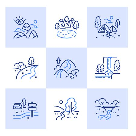 Outdoor landmarks, nature sites, recreational park, base camp tents area, summer trail walking, hiking or tracking, ecological pathway, waterfall view, mountain pass, vector line icon set