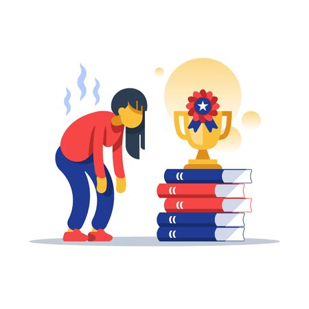 Hard working female student, successful education, overloaded with assignment, excessive learning, pursuit of excellence, tired with study, loss of interest, lack of motivation, burnout person