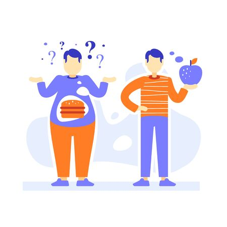 Fat and slim men, thick and thin male person comparison, obesity and fit body, overweight or over consumption, reduce weight program, good diet, before and after, vector flat illustration
