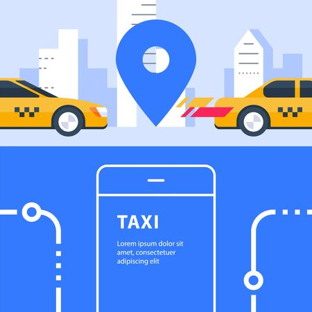 Ordering taxi, auto transport service, rental car, city transfer, map pointer and urban street, smartphone app, vector flat illustration