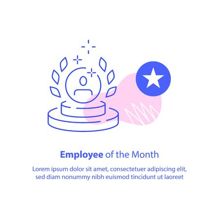 Employee of the month concept, best performance worker, reward program, award trophy, achieve excellence, vector line icon
