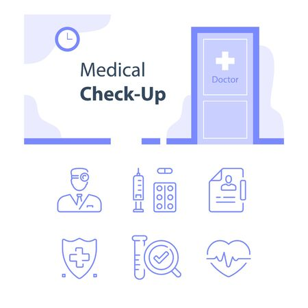 Medical services, regular health checkup and counselling, fast clinical analysis and diagnosis, vector line icons, flat illustration