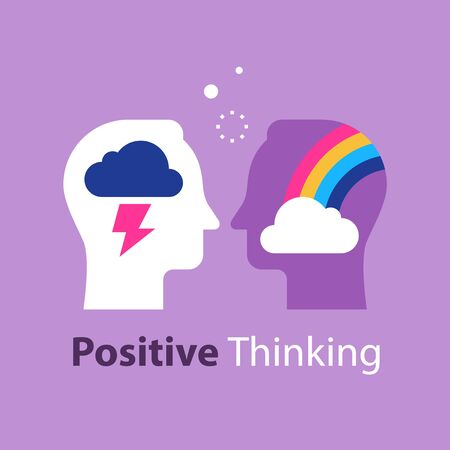 Positive or negative thinking, cloud and rainbow in head, good or bad attitude, mindset concept, feel happy or unhappy, vector flat illustration Vettoriali