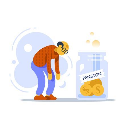 Pension fund program, superannuation concept, retirement investment and planning, future savings, small annuity or shortage of money, lack of income, old man and glass jar of coins