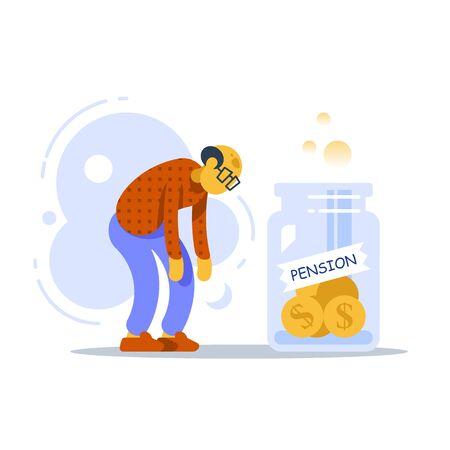 Programa de fondos de pensiones, concepto de jubilación, inversión y planificación para la jubilación, ahorros futuros, pequeña anualidad o escasez de dinero, falta de ingresos, anciano y frasco de vidrio de monedas