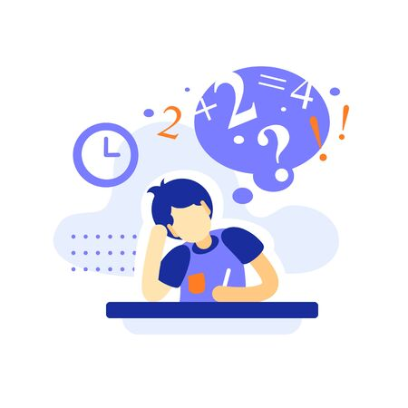 Bored male student at the desk doing homework, difficult  assignment, writing and thinking on task, education concept, bored teenage learner, tired learning, too much burden, vector flat illustration