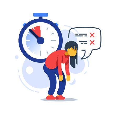 Time management, deadline clock, tired woman, procrastination concept, vector flat illustration