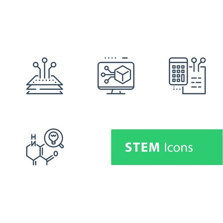 STEM concept, technology development, science research, tech innovation, math and engineering, composition material testing, chemical chain, chemistry expertise, vector line icon set