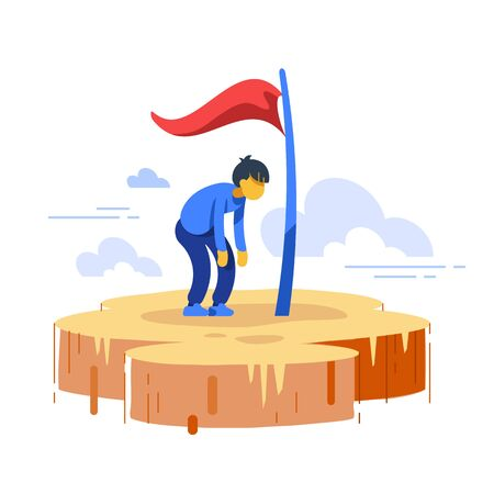 Man stuck in progress, loss of motivation, self growth, never give up, high goals achiever, perfectionist anxiety, impostor complex, way to success, excessive hope, vector flat illustration 向量圖像