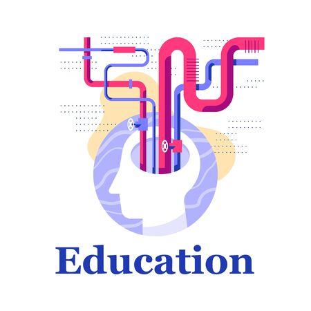 Creative thinking concept, intellect or skill improvement workshop, intelligence development, fun education, neurology or behavior, vector flat illustration 向量圖像
