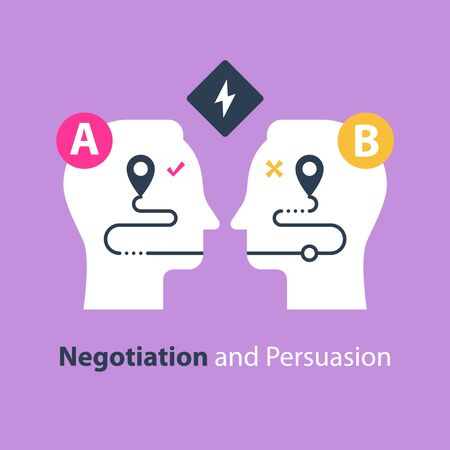 Negotiation and persuasion, communication concept, two sides, common ground, mutual understanding, vector flat illustration
