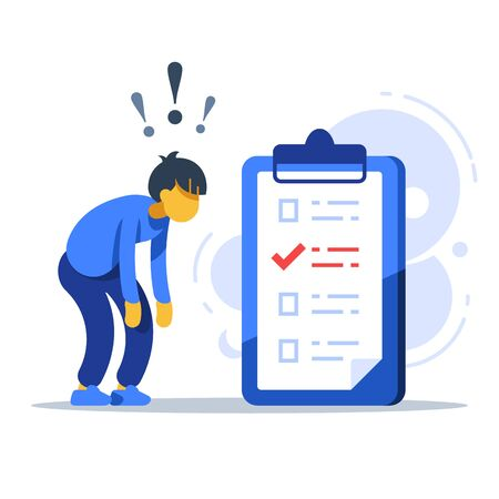 Surprised man, to-do list, checklist assignment, task management, procrastination concept, low test score, vector flat illustration