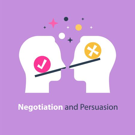 Decision making, outweigh scale, bias and mindset, positive or negative, between two sides, negotiation and persuasion, mutual agreement, teamwork vector flat illustration Vetores