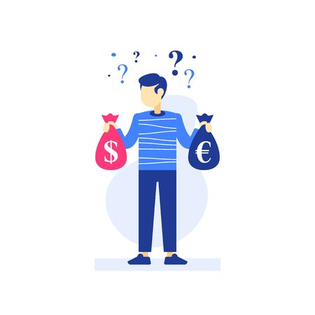 Man holding money bags in hands, successful investor, investment strategy, stock market fund, income growth, revenue increase, earn more, financial budget and expenses, vector flat illustration Vecteurs