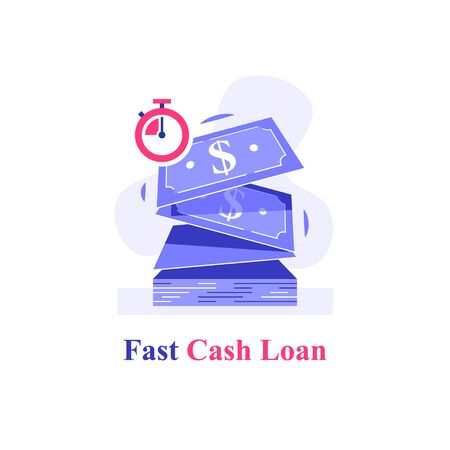 Fast cash loan, bunch of dollar bills and stopwatch, financial solution, micro lending, easy money transfer, finance provision, currency exchange quickly, vector flat illustration 向量圖像