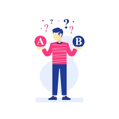 Man thinking, decision making, difficult choice, choose between two options, considering alternative, customer service, career strategy, questionnaire or survey, vector flat illustration