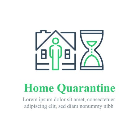Home quarantine concept, stay indoors, do not go out, social isolation, inside house, waiting period, vector line icon