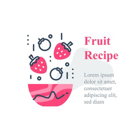 Delicious berry salad, simple recipe, eat healthy food, full bowl, falling ingredients, nutritious diet, lunch dish, vector line icon 矢量图像