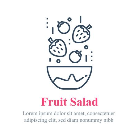 Delicious berry salad, simple recipe, eat healthy food, full bowl, falling ingredients, nutritious diet, lunch dish, vector line icon Ilustração