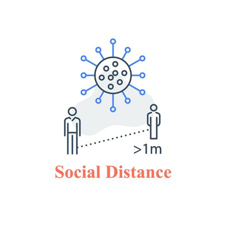 Social distance, keep away, avoid contact, self isolation, two people standing, stop virus spread, refrain public gathering, vector line icon
