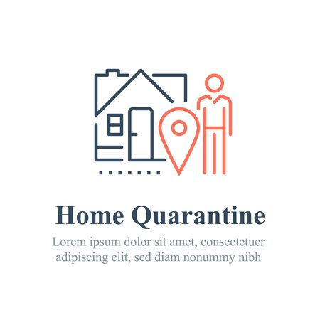 Home quarantine concept, stay indoors, do not go out, social isolation, vector line icon 向量圖像