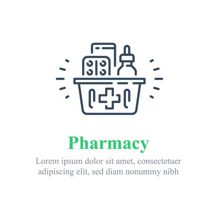 Full pharmacy basket, purchase medical product, purchase delivery, vector line icon 矢量图像