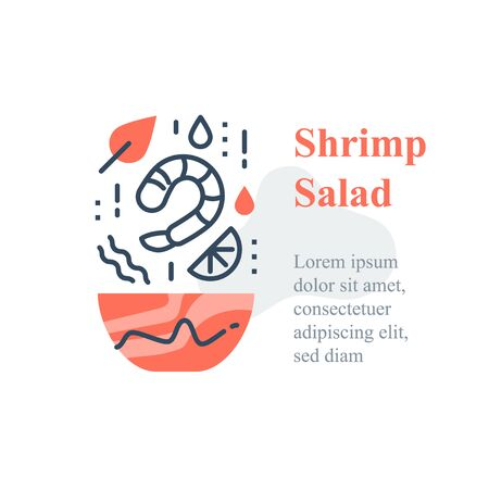 Delicious shrimp salad, seafood recipe, eat healthy food, full bowl, falling ingredients, nutritious diet, lunch dish, vector icon Ilustração