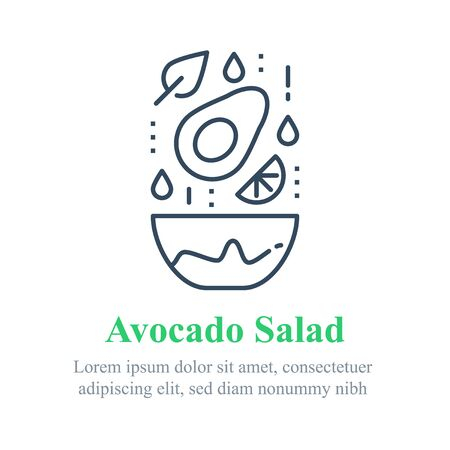 Delicious avocado salad, simple recipe, eat healthy food, full bowl, falling ingredients, nutritious diet, lunch dish, vector line icon
