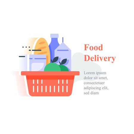 Full red basket of groceries, supermarket products abundance, food purchase and home delivery, consumption concept, vector icon, flat design illustration Illustration