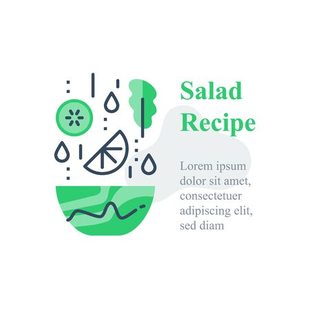 Delicious vegetable salad, simple recipe, eat healthy food, full bowl, falling ingredients, nutritious diet, lunch dish, vector line icon Ilustração
