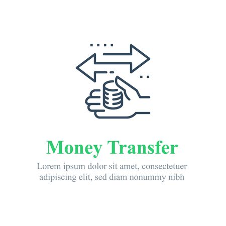 Finance transfer, send money, instant payment, financial service, fast cash loan, vector line icon