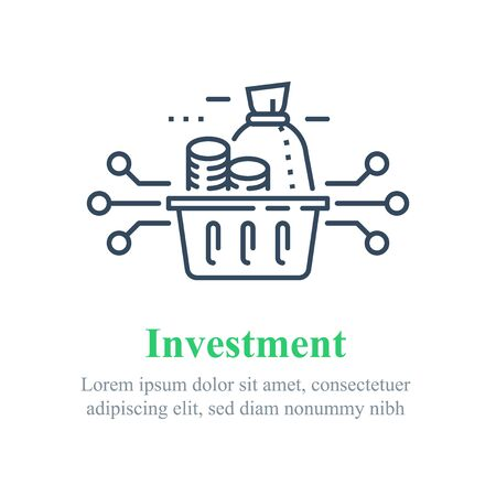 Investment fund strategy, portfolio diversification, capital allocation, secure savings, asset growth, financial technology, stock market account, vector line icon