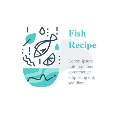 Delicious fish salad, seafood recipe, eat healthy food, full bowl, falling ingredients, nutritious diet, tuna lunch dish, vector line icon Ilustração