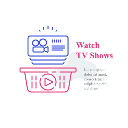 Watch online video, TV shows subscription, film series, films package, unlimited access, vector line icon 向量圖像