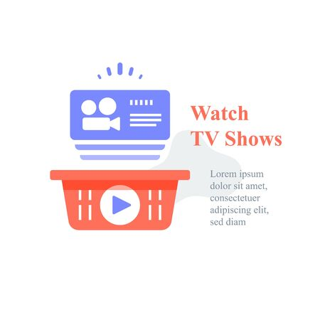 Watch online video, TV shows subscription, film series, films package, unlimited access, vector icon, flat illustratio