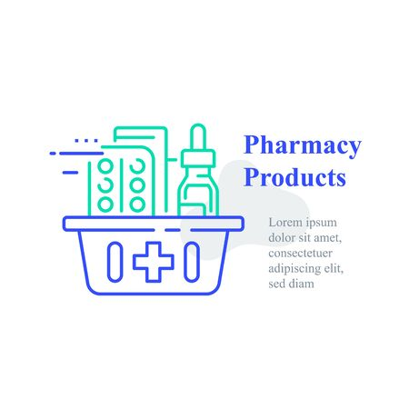 Full pharmacy basket, order medical product, purchase delivery, vector line icon