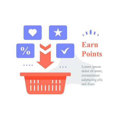 Grocery basket, earn points for purchase, loyalty program, reward or incentive, collect bonus, buy more, marketplace service, multiple order delivery, vector icon