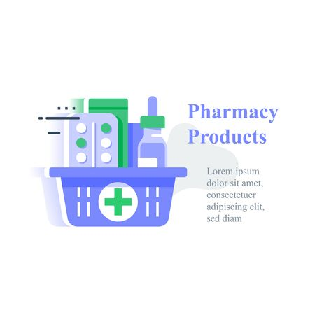 Full pharmacy basket, order medical product, purchase delivery, vector icon, flat illustration