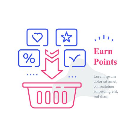 Grocery basket, earn points for purchase, loyalty program, reward or incentive, collect bonus, buy more, marketplace service, multiple order delivery, vector line icon Vector Illustration