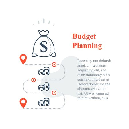 Long term investment strategy, money bag, income increase, business revenue growth, lower cost, financial solution, budget expenses, fundraising concept, vector line icon
