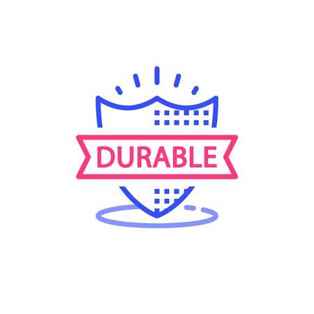 Durable concept, quality guarantee, warranty shield, vector line icon