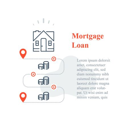 Mortgage loan concept, purchase house, home ownership, down payment, long term interest rate, household expenses, vector line icon