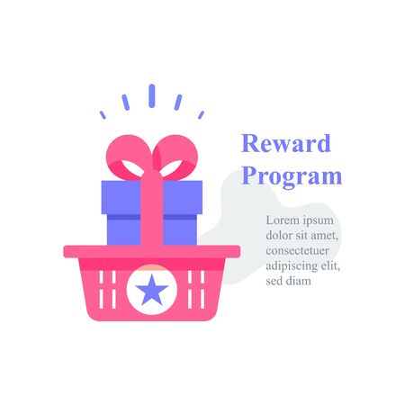 Gift box in basket, reward program, loyalty present, incentive concept, earn points, redeem gift, special prize for shopping, collect incentive bonus, refer new customer, vector icon