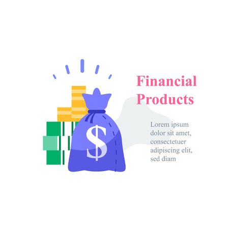 Investment concept, revenue growth, financial solution, pension fund, savings account, fast cash loan, money bag, debt refinance, tax return, budget plan, vector icon