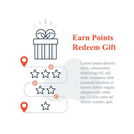 Gift box, reward program, incentive present, win special prize, earn loyalty points, collect bonuses, vector line icon