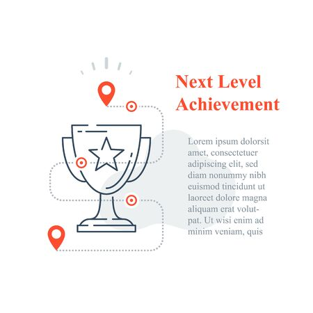 Competition reward concept, excellence award, winner cup, strategy to success, next level improvement, high achievement trophy, incentive program, long term goal, vector line icon 向量圖像
