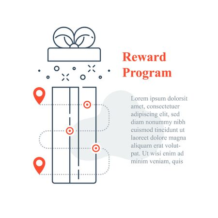 Surprise gift box open, reward program, incentive present, win special prize, earn loyalty points, collect bonuses, vector line icon