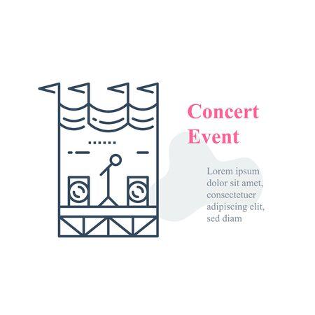 Concert stage, public event organizing, local music festival, public performance, entertainment show, vector line icon